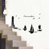Serene Lighthouse Sailboats Wall Decal