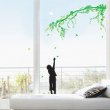 Child Catching Falling Leaves Branch Wall Decal