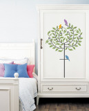 Steel Tree Bird Perch with Mod Birds Wall Decal