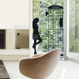 Parisian Woman Silhouette Phonebooth Wall Decal