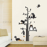 Owls Squirrels Tree Wall Decal