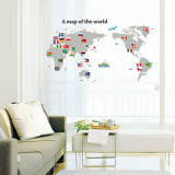 World Map with Flags Wall Decal