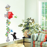 Kittens/Birds with Vintage Lamp/Mailbox Wall Decal