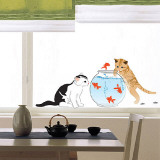 Kittens with Goldfish Autocollant mural