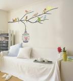 Vögel im Baum Wandtattoo
