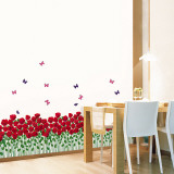 Roses and Butterfly Field Wall Decal