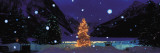 Tree with Lights and Chateau, Lake Louise, Alberta, Canada Wall Decal by  Panoramic Images