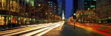 Blurred Motion, Cars, Michigan Avenue, Christmas Lights, Chicago, Illinois, USA Wall Decal by  Panoramic Images
