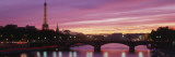 Sunset, Romantic City, Eiffel Tower, Paris, France Wallstickers af Panoramic Images