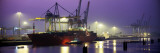 Port, Night, Illuminated, Hamburg, Germany Wall Decal by  Panoramic Images