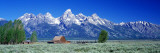 Barn on Plain Before Mountains, Grand Teton National Park, Wyoming, USA Wall Decal by  Panoramic Images
