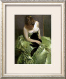 Woman in Green Dress with Black Cat Framed Giclee Print by John White Alexander