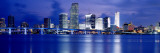 Panoramic View of an Urban Skyline at Night, Miami, Florida, USA Wall Decal by Paula Scaletta