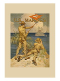 Marines Signaling from Shore to Ships at Sea Wall Decal by Joseph Christian Leyendecker
