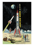 Friction Moon Rocket Wall Decal