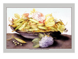 Bowl with Pears and Two Roses Wall Decal by Giovanna Garzoni