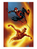 Ultimate Spider-Man 69 Cover: Spider-Man and Human Torch Posters by Mark Bagley