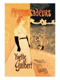 Ambassadeurs: Yvette Guilbert, Tous les Soirs, c.1894 Autocollant mural par Théophile Alexandre Steinlen