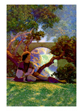The Knave of Hearts in the Meadow Sticker mural par Maxfield Parrish
