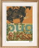 Pug & Kiss Limited Edition Framed Print by M.J. Lew