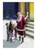 Santa and Street Kids Wall Decal by Paul Stahr
