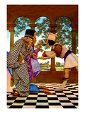 The Chancellor and the King Sampling Tarts Autocollant par Maxfield Parrish