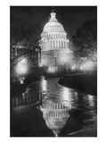 The U.S. Capitol Builing in a Light Night Rain Wall Decal