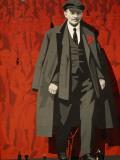 Et vægmaleri af Lenin tårner sig op over en åben plads i Leningrad, A Mural of Lenin Towers over a Leningrad Square Fotografisk tryk af Dick Durrance