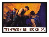 Teamwork Builds Ships, c.1917 Wall Decal by William Dodge Stevens