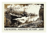 Launching Another Victory Ship, c.1918 Wall Decal by Joseph Pennell