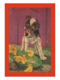 Dog with Chicks Wall Decal by Diana Thorne