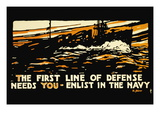 Enlist in the Navy, The First Line of Defense, c.1914 Wall Decal by Hampton Francis Shirer