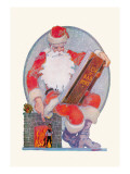 Santa Checks His Giant List of Bad Boys Wall Decal by George Carlson