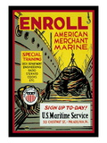 Enroll: American Merchant Marine, c.1941 Wall Decal by Glenn Stuart Pearce