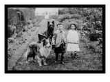 Boy and Girls with Two Dogs and a Wagon Wall Decal