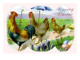 Easter Hens Wall Decal