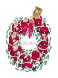 Santa Christmas Wreath Wall Decal by Abner Dean