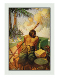 Robinson Crusoe: I Did My Utmost to Keep the Chests in Their Places Wall Decal by Frank Goodwin