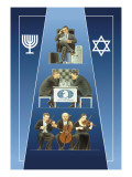 One Israeli Banking, Two Israelis Playing Chess, Three Israelis in Orchestra Wall Decal by Dimitri Deeva