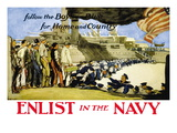 Enlist in the Navy, Follow the Boys in Blue, c.1914 Wall Decal by George Hand Wright