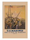 U.S. Marines, First to Fight for Democracy Wall Decal by L.a. Shafer
