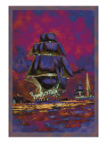 U.S. Navy: Night Falls Wall Decal by Willy Stower