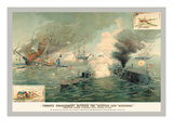 The First Encounter of Ironclads Monitor and Merrimac Autocollant mural