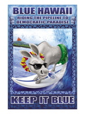Blue Hawaii, Riding the Pipeline to Democratic Paradise Wall Decal by Richard Kelly