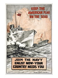 Join the Navy, Keep the American Flag on the Seas, c.1917 Wall Decal by Frank Vining Smith