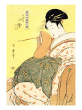 Reigning Beauties: Leisure Time Wall Decal by Utamaro Kitagawa 
