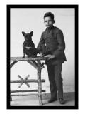 Boy with French Bulldog Wall Decal