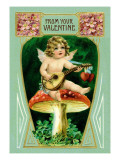 Angel with Mandolin and Mushrooms Wall Decal
