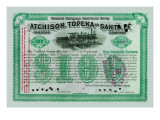 Atchison, Topeka and Santa Fe Stock Certificate Wall Decal