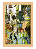 Aladdin and the Magic Lamp Illustration Wall Decal by Walter Crane